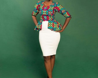 Ankara Peplum Top with Sleeves