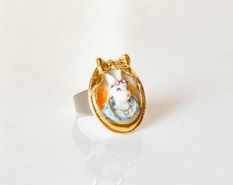 Small Porcelain Rabbit Cameo Ring/ oval shape ring/ rabbit ring/ Cameo ring/ wonderland ring/bunny ring/ bunny/ rabbit