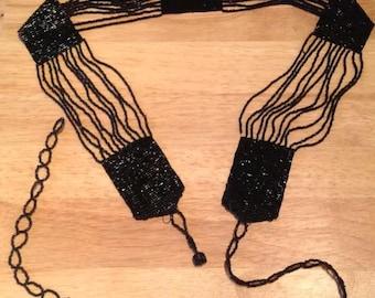 Art Deco Belt With Black Beads 1920s Stunning.