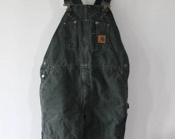 Vintage CARHARTT dark green denim overalls 42 x 32