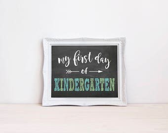 """First Day Of Kindergarten Chalkboard Sign 