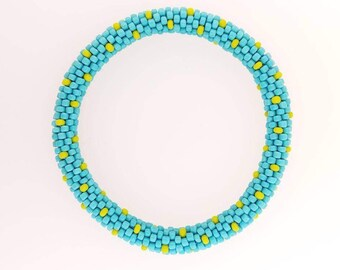 Bead Crochet Bracelet - Turquoise with lime dots