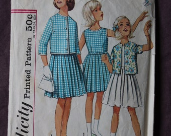 Girls' One-piece Dress with Pleated Skirt and Jacket Vintage 1960s Simplicity 4917 Sewing Pattern Size 10 Chest 28