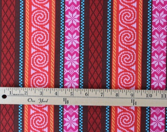 Heaven Helsinki by Patty Young for Micheal Miller - Fair Isle Stripes Pink Orange - Sold by the yard