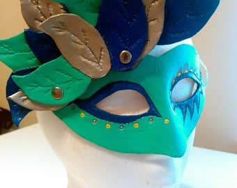 Shades of Blue Leather Mask