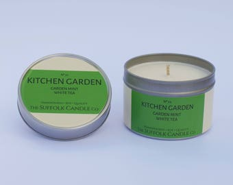 Garden mint, White tea - handmade scented candle 100% soy wax in a tin 100g