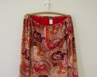 70s Disco Vintage Psychedelic Off Shoulder Paisley Print Long Sleeve Top