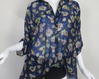Blue Sheer Floral Oversized Blouse Quarter Length Sleeve Size Medium Flowy Floral Shirt Button Up High Low Hippy Summer Shirt Loose Fit