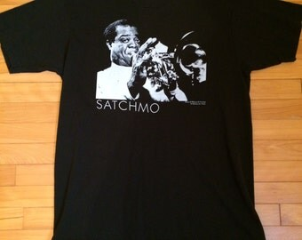 RARE Vintage 80s 90s 1990 Louis Armstrong SATCHMO Trumpet Jazz Music Band Black L Tshirt