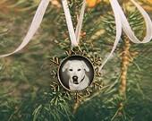 Custom dog Christmas Tree Ornament - Custom Bronze Flower Charm - Snowflake Pet Photo Ornament - Custom Picture