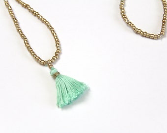 Mint and Gold Tassel Necklace . Tiny Tassel Necklace . Mint Tassel . Trendy Spring Jewelry . Mint Green Statement Necklace . Long Necklace