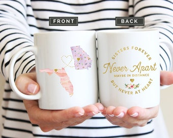 Sister Moving Mug, Mug for Sister Moving, Long Distance Sister Mug, State to State Mug, Moving Away Gift, Together Forever Mug, Sister Gift