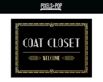 1920s Art Deco Coat Closet Sign Great Gatsby Printable Decorations Black And