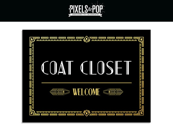 1920s Art Deco Coat Closet Sign Great Gatsby Printable Decorations Black And Gold Check