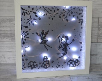Fairy Night Light, Nursery Decor, Fairy Lights, Shadow Box, Girls Bedroom Decor, Night Light, Girls Bedroom Art, Girls Birthday Gift