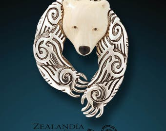 Alpha - Hand carved bone and sterling silver bear pin/pendant