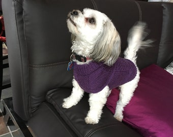 Hand Knit Small Female Dog Purple Cabled Harness-Friendly Sweater