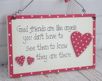 Friends Plaque Good Friends are Like Angels  To Know They Are There Red Polka Dot Hearts F0602G