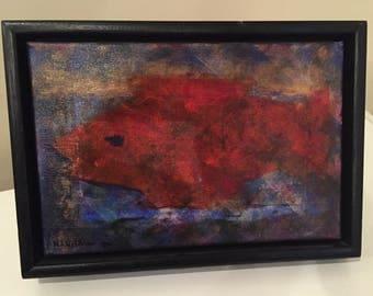 Vintage Fish Painting by Maya Wildevuur ~ Impressionist Fish Art ~ Original Fish Painting ~ Red Fish Art ~ Unique Kitchen Art ~ Dutch Artist
