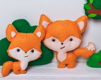 Mommy and me fox Woodland natural stuffed animals Felt family Nursery decor Personalized toy Baby Shower gift