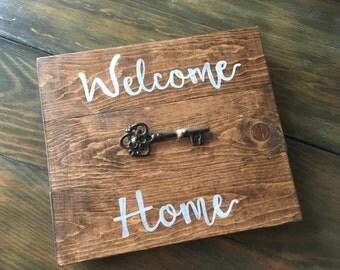 Welcome Home w/ Iron Key, Wood Sign, Housewarming Gift