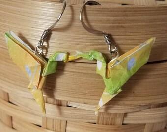 Origami Earrings Hummingbird