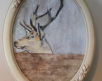Head of deer, posts deer, portrait animal painter, cabinet of the curiosities