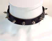 Spiked Choker Collar - 0.75 Inches Wide - Spiked Choker - Rock Concert jewelry