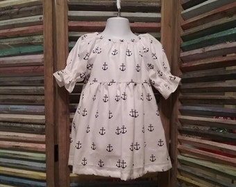 Girls dress, Girls peasant dress, Girls Anchor dress, 100% cotton, Toddler dress,  Size 2T girls dress, Girls summer dress, #165
