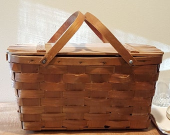 Vintage Picnic Basket by Wuv-n-Wood Jerywil~Vintage Wedding Card Basket