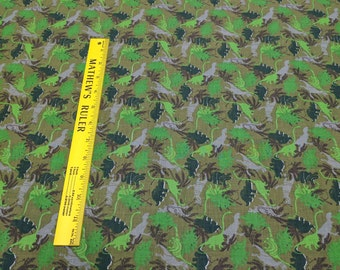 Green Dinosaurs Cotton Fabric