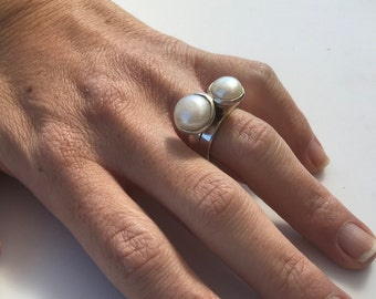 Double pearl ring, Pearl Ring, Silver Pearl Ring, Pearl Silver Ring, Sterling Silver Ring, Pearls Jewelry, White Pearl Ring, White Pearl,