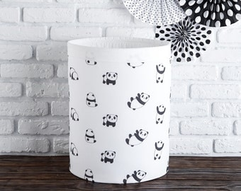 Toy's basket with pandas, Round Nursery basket, laundry basket, toy storage, toy basket, Storage bin, Laundry hamper, Nursery Storage