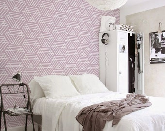 Pink triangles pattern, abstract, pale, geometric wallpaper, reusable, removable, self adhesive wall mural #102