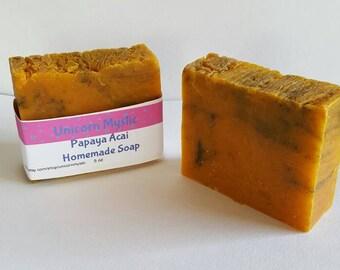 All Natural Acai Papaya Cold Processed Homemade Bar Soap