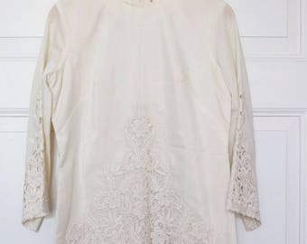 CREAMWHITE BLOUSE and TROUSERS w Lace Details, summer costume