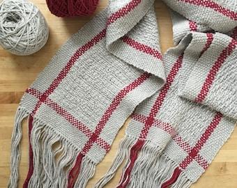 Handwoven Scarf silk & linen — Railway Scarf: Grey