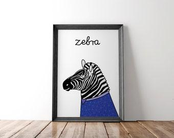 Zebra wall art print, zoo nursery prints, zebra print wall art, zebra wall print, safari nursery poster, zoo nursery art, safari poster