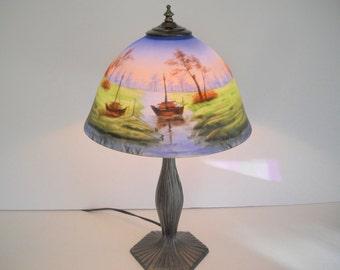 Reverse Painted Lamp Beautiful Scenery Lamp