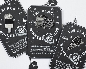 BUNDLE DEAL The Black Winnebago Club Hard Enamel and Antique Silver Pin, Ice Cream Cone and Ice Lolly Pins - The Black Winnebago Club