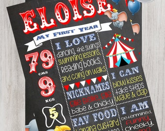 Dumbo Circus Chalkboard Birthday/Milestone Digital File, Circus Birthday, Circus Party
