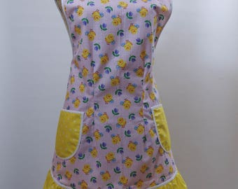 Vintage Style Apron-Easter Chicks Theme Pink Gingham Yellow Accent-Full Coverage Figure Flattering Design-Ruffle-Lined Pockets-White Trim