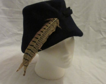 Navy Blue Wool Hat with Brown Feather