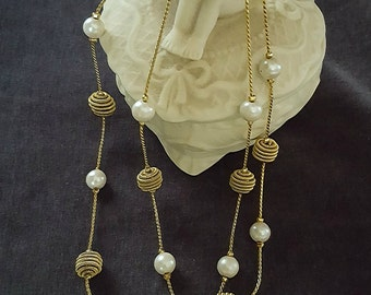 Vintage Gold Tone Necklace with Faux Pearl, Gold Tone Knots & Beads Costume Jewelry 1980s