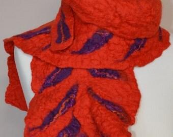 Orange merino wool felt scarf. Orange and purple merino wool felt scarf. Orange merino wool scarf. Orange winter scarf. Orange felt scarf.