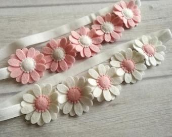 First communion headband, Felt Daisy headband, Baby pink headband, flower girl headband, pink white toddler headband, pink flower headband