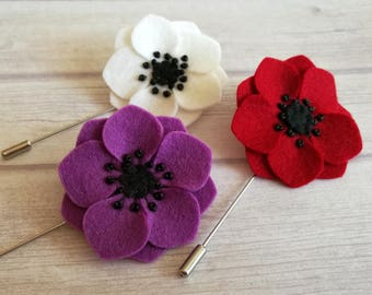 Red popy lapel pin, Lilac anemone lapel pin, Wedding boutonniere, Red flower lapel pin, Anemone brooch, Red popy stick pin, Anemone pin