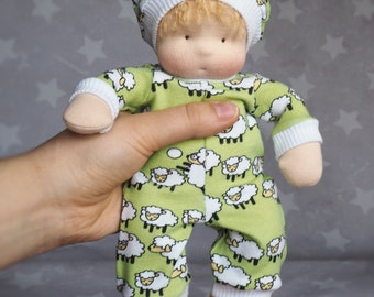Waldorf Inspired Baby Girl Small Doll pocket size, movable arms and legs, clothes