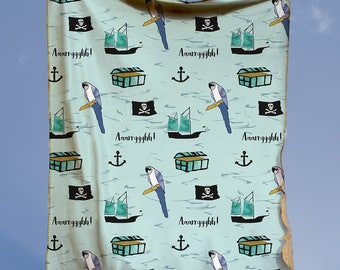 Pirate Blanket - Play Rug - Minky Blanket - Baby Shower Gift - Play Mat