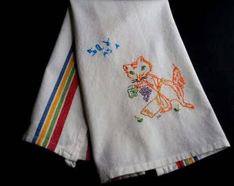 Hand embroidered fox vintage embroidery  vogart pattern,hand embroidered towel, vogart fox, vintage kitchen decor
